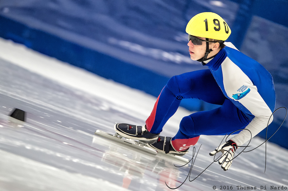 March 19, 2016 - Verona, WI - Conor McDermott-Mostowy, skater number 190 competes in US Speedskating Short Track Age Group Nationals and AmCup Final held at the Verona Ice Arena.