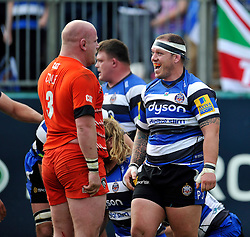 Paul James of Bath Rugby celebrates a scrum penalty in the face of Dan Cole of Leicester Tigers - Photo mandatory by-line: Patrick Khachfe/JMP - Mobile: 07966 386802 23/05/2015 - SPORT - RUGBY UNION - Bath - The Recreation Ground - Bath Rugby v Leicester Tigers - Aviva Premiership Semi-Final