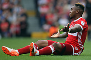 Britt Assombalonga of Middlesbrough protests to the referee. EFL Skybet championship match, Fulham v Middlesbrough at Craven Cottage in London on Saturday 23rd September 2017<br /> pic by Steffan Bowen, Andrew Orchard sports photography.