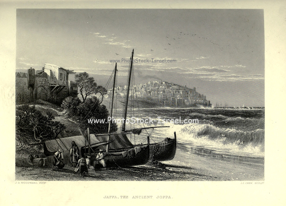 Engraving on Steel of Jaffa the ancient Joppa from the book 'Picturesque Palestine, Sinai and Egypt' by Wilson, Charles William, Sir, 1836-1905; Lane-Poole, Stanley, 1854-1931 Volume 3. Published in by J. S. Virtue and Co 1883