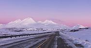 Belt of Venus at sunrise in Tatshenshini-Alsek Provincial Park in British Columbia, Canada. Winter.