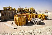 Oil industry in Ras Tanura area, Saudi Arabia, equipment for drilling exploration in desert area 1979