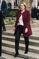© Licensed to London News Pictures. 24/04/2018. London, UK. © Licensed to London News Pictures. 24/04/2018. London, UK. Home Secretary, AMBER RUDD MP<br /> attends the statue unveiling of the Suffragist leader Millicent Fawcett in Parliament Square. The Mayor of London commissioned Turner prize-winning artist GILLIAN WEARING OBE to create the statue. Photo credit: Ray Tang/LNP
