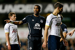 Sylvain Distin of Everton shouts - Photo mandatory by-line: Rogan Thomson/JMP - 07966 386802 - 30/11/2014 - SPORT - FOOTBALL - London, England - White Hart Lane - Tottenham Hotspur v Everton - Barclays Premier League.