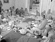 Hare Krishna Initiation, Dublin.02.05.1982..05.02.1982.2nd May 1982.1982.At the Hare Krishna Temple,Castlefield House,Knocklyon Rd,Templeogue,Dublin,new members are initiated into the Hare Krishna movement. The initiation was conducted by Guru His Divine Grace, Srila Satswarupa Das Goswami..Readings are held as Hare Krishna members prepare for the initiation ceremony.