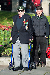 A veteran on parade outside Barnsley Town Hall as  Barnsley Marks the Centenary of the out break of World War I on Remembrance Sunday <br /> <br /> 09 November 2014<br /> <br /> Image © Paul David Drabble <br /> <br /> www.pauldaviddrabble.co.uk