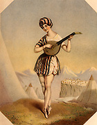 Madame Celeste (c1814-1882) French danseuse and actress, who lived in London from 1837. Celeste as 'The Arab Boy' playing a lute.