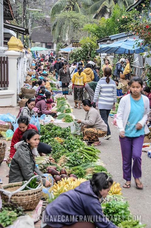 An alleyway at the morning market in Luang Prabang, Laos.