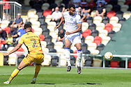 Mansfield's Matt Green (r) heads just wide of goal watched by Newport's Jazzy Barnum-Bobb. Skybet EFL league two match, Newport county v Mansfield Town at Rodney Parade in Newport, South Wales on Saturday 6th August 2016.<br /> pic by Carl Robertson, Andrew Orchard sports photography.