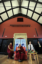 The Dalai Lama visits Cambridge to attend a press conference hosted by Global Scholars Symposium at the Divinity School of St Johns, Cambridge, UK, Friday April 19,  2013, Photo by: Matthew Power / i-Images