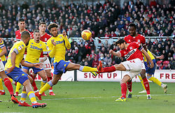 Middlesbrough's George Friend blocks the shot from Leeds United's Tyler Roberts during the Sky Bet Championship match at The Riverside Stadium, Middlesbrough.
