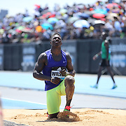Former New York Giants football player David Wilson, USA, failing to qualify for the final jump off of the Men's Triple Jump Competition  during the Diamond League Adidas Grand Prix at Icahn Stadium, Randall's Island, Manhattan, New York, USA. 13th June 2015. Photo Tim Clayton
