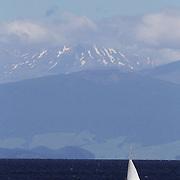 A sailing boat on the water at Lake Taupo. Taupo, New Zealand,, 7th January 2011. Photo Tim Clayton.