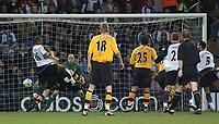 Photo. Glyn Thomas.<br /> Fulham v Blackburn. FA Barclaycard Premiership. <br /> Loftus Road, Luton. 12/04/2004.<br /> Fulham's Collins John (L) scores his side's second goal on the stroke of half time.
