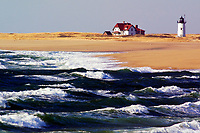 Race Point Lighthouse, as seen from Herring Cove Beach in Provincetown, on Cape Cod, Mass. 12/18/00