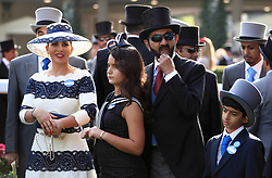 Sheikh Mohammed bin Rashid Al Maktoum and Princess Haya bint Al Hussein of Jordan (left) with family in the winners encloser during day one of Royal Ascot at Ascot Racecourse.