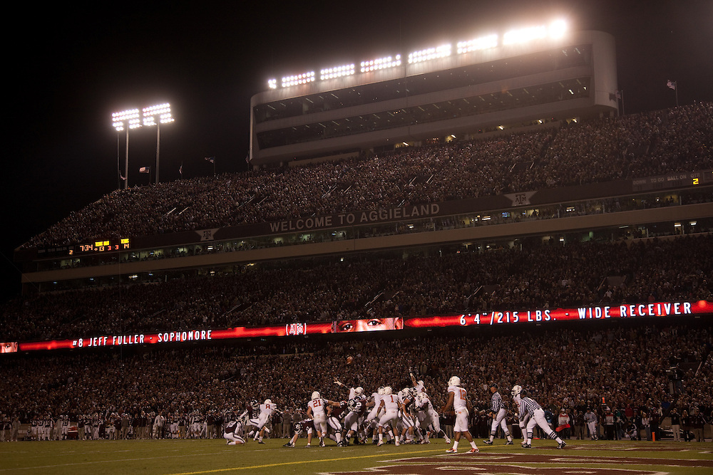 General view, kicking action at Kyle Field. Texas Longhorns at Texas A&M Aggies. Photographed at Kyle Field in College Station, Texas on Thursday, November 26 2009. Photograph © 2009 Darren Carroll