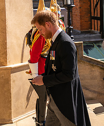 The Duke of Sussex walks up the West Steps outside St George's Chapel, Windsor Castle, Berkshire, ahead of the funeral of the Duke of Edinburgh. Picture date: Saturday April 17, 2021.