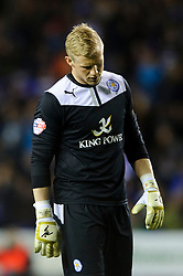 Kasper Schmeichel (DEN) of Leicester City looks frustrated - Photo mandatory by-line: Rogan Thomson/JMP - 07966 386802 - 14/04/2014 - SPORT - FOOTBALL - Madejski Stadium, Reading - Reading v Leicester City - Sky Bet Football League Championship.