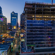 Two Light Tower construction progress update as of July 2017; downtown Kansas City, Missouri. Developed by Cordish Co./Power & Light District; JE Dunn - general contractor; HCM/Horde Coplan Macht Architects