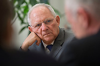 16 NOV 2016, BERLIN/GERMANY:<br /> Wolfgang Schaeuble, CDU, Federal Minister of Finance, during an Interview, in his office, Federal Ministy of Finance<br /> Wolfgang Schaeuble, CDU, CDU, Bundesfinanzminister, waehrend einem Interview, in seinem Buero, Bundesministerium der Finanzen<br /> IMAGE: 20161116-02-023<br /> KEYWORDS: Wolfgang Schäuble, Büro