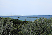 One of several views of the Mackinac Bridge (this one with Green Island in the foreground) that I captured from an observation point near Point le Barbe in early July, 2013. This vantage point provides a nearly perpendicular view of the bridge, which highlights its awesome five-mile length.