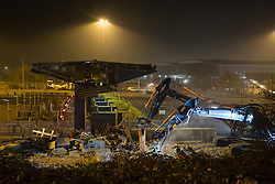 @Licensed to London News Pictures 29/11/2014. Dartford Crossing, South Orbital Road, Dartford, Kent. The first phase of barrier removals start in the early hours of today 30 /11/2014. Payment booths at the Dartford Crossing will be removed and replaced with a remote charging system known as Dart Charge. Photo credit: Manu Palomeque/LNP