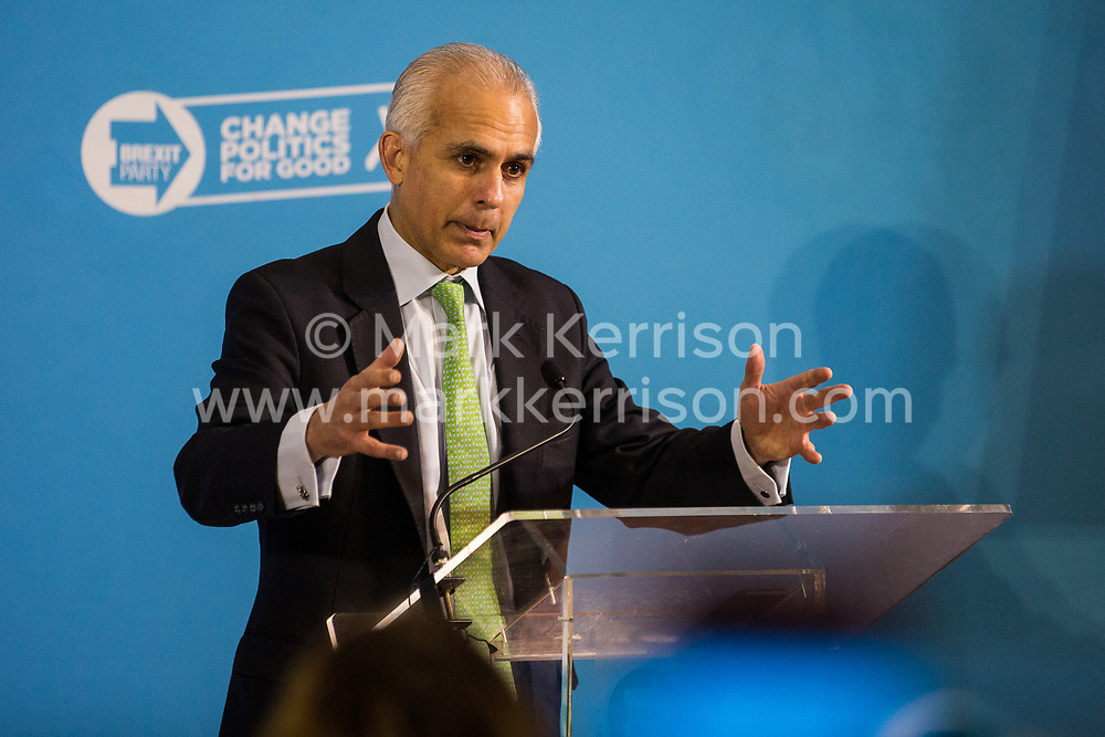 London, UK. 6 December, 2019. Ben Habib MEP speaks at the launch of the Brexit Party Defence and Veterans' Affairs policy statements at an event in Westminster.
