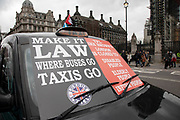 Taxi drivers protest in Westminster in London, United Kingdom. The black cab drivers feel squeezed by local government transport policies and have vowed to continue their blockade every other day until the Mayor of London listens to their issues.