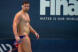 Jorn Winkelhorst of the Netherlands disappointed against Montenegro during the Olympic qualifying tournament. The Dutch water polo players are on the hunt for a starting ticket for the Olympic Games on February 19, 2021 in Rotterdam