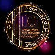 Digitally enhanced image of a Ten New Israeli Shekel coin