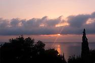 Sunrise over the Aegean Sea from the Orkos Estate, Paxos, Greece, Europe