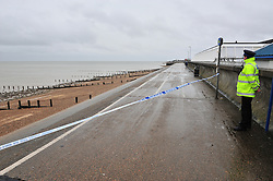 © Licensed to London News Pictures. 05/03/2017<br /> SEAFRONT NEXT TO SWIMMING POOL.<br /> Police have sealed off the park from the Broadway and the seafront down to the sea.<br />  The body of a baby has been found on small piece of park land at the back of Sheerness Swimmimg Pool near the Broadway, Sheerness next to St Henry and St Elizabeth Church.<br /> Photo credit :Grant Falvey/LNP