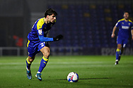 AFC Wimbledon attacker Ryan Longman (29) dribbling down wing during the EFL Sky Bet League 1 match between AFC Wimbledon and Peterborough United at Plough Lane, London, United Kingdom on 2 December 2020.