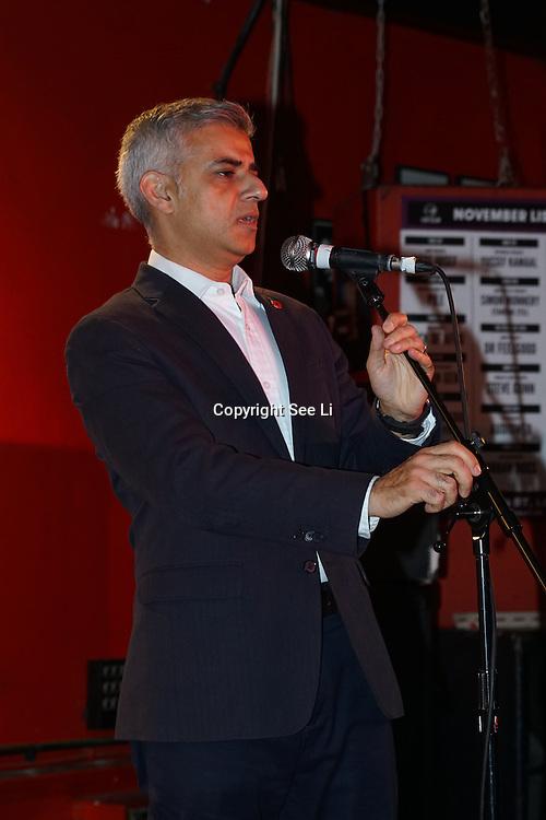 London, England,UK. 4th Nov 2016: Mayor of London Sadiq Khan announce the Mayor reveals Amy Lame as UK first-ever Night Czar at 100 Club,London,UK. Photo by See Li