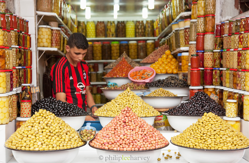 Olives for sale at a stall at the Djemaa el Fna in the medina of Marrakech