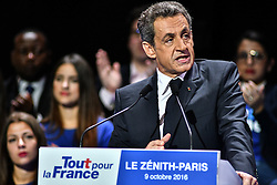Right-wing Les Republicains (LR) party's candidate for the LR party primaries ahead of the 2017 presidential election, former French President Nicolas Sarkozy delivers a speech during a campaign rally on October 9, 2016 at the Zenith venue in Paris. Photo by Yann Korbi/ABACAPRESS.COM