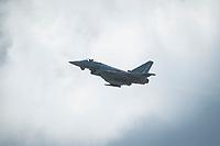 16 MAY 2014, BERLIN/GERMANY:<br /> Mehrzweckkampfflugzeug Eurofighter Typhoon der Bundeswehr, Internationale Luftfahrt Ausstellung, ILA, Flughafen Schoenefeld<br /> IMAGE: 20140516-01-015<br /> KEYWORDS: Flugzeug, plane, Jagdflugzeug