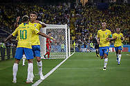 Thiago Silva of Brazil celebrates his goal with Neymar during the 2018 FIFA World Cup Russia, Group E football match between Erbia and Brazil on June 27, 2018 at Spartak Stadium in Moscow, Russia - Photo Thiago Bernardes / FramePhoto / ProSportsImages / DPPI