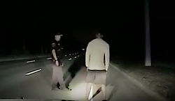 """A barefoot Tiger Woods is seen here disorientated and struggling to walk in dramatic dash cam footage taken at the scene of his DUI arrest in Florida. Video released by cops today (May 31) shows the pro golfer undertaking a series of sobriety tests, which he ultimately failed. In the 98-minutes of footage released by Jupiter Police, the 41-year-old father-of-two — who underwent a procedure on his back in April — is seen swaying, rolling his eyes, slurring his words and falling asleep during the a series of sobriety tests. After failing the field tests, Woods is formally arrested and cuffed with his hands behind his back. According to the police report, Woods was found asleep at the wheel of his 2015 Mercedes Benz and was on four prescription drugs when he was arrested on suspicion of driving under the influence in the early hours of May 29 in Jupiter, Florida. He tested negative for alcohol. Elsewhere in the report it notes that Woods had 'extremely slow and slurred speech' and did not know where he was before taking the field tests. The golfer undertook four sobriety tests. After being asked to recite the alphabet backwards, he instead offered to recite the National Anthem backwards instead. During the Walk & Turn test the sportsman """"could not maintain starting position… missed heel to toe each time… stepped off the line several times… used arms for balance,"""" according to the arresting officer's report. He was also unable to perform the One Leg Stand, requiring him to lift one leg off the ground six inches, placing his foot down """"several times"""" while trying to complete the task. Woods was also seemingly confused by the Finger To Nose test, and was unable to complete the task as asked, the report notes. The car Woods was driving was found with two flat tires and """"fresh damage"""" to the driver's side, the report notes, and police released images of the bashed up car on May 31. Woods released a statement on May 29 in which he apologized for t"""
