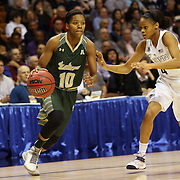 Courtney Williams, USF, drives past Moriah Jefferson, UConn, during the UConn Huskies Vs USF Bulls Basketball Final game at the American Athletic Conference Women's College Basketball Championships 2015 at Mohegan Sun Arena, Uncasville, Connecticut, USA. 9th March 2015. Photo Tim Clayton