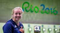 20160909 Copyright onEdition 2016©<br /> Free for editorial use image, please credit: onEdition<br /> <br /> Shooter Issy Bailey, P2 - 10m Air Pistol SH1 - Women, from Cirencester, competing for ParalympicsGB at the Rio Paralympic Games 2016.<br />  <br /> ParalympicsGB is the name for the Great Britain and Northern Ireland Paralympic Team that competes at the summer and winter Paralympic Games. The Team is selected and managed by the British Paralympic Association, in conjunction with the national governing bodies, and is made up of the best sportsmen and women who compete in the 22 summer and 4 winter sports on the Paralympic Programme.<br /> <br /> For additional Images please visit: http://www.w-w-i.com/paralympicsgb_2016/<br /> <br /> For more information please contact the press office via press@paralympics.org.uk or on +44 (0) 7717 587 055<br /> <br /> If you require a higher resolution image or you have any other onEdition photographic enquiries, please contact onEdition on 0845 900 2 900 or email info@onEdition.com<br /> This image is copyright onEdition 2016©.<br /> <br /> This image has been supplied by onEdition and must be credited onEdition. The author is asserting his full Moral rights in relation to the publication of this image. Rights for onward transmission of any image or file is not granted or implied. Changing or deleting Copyright information is illegal as specified in the Copyright, Design and Patents Act 1988. If you are in any way unsure of your right to publish this image please contact onEdition on 0845 900 2 900 or email info@onEdition.com