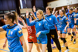 Ana Abina of RK Krim Mercator, Aneta Benko of RK Krim Mercator, Sergeja Stefanisin of RK Krim Mercator celebrate after the handball match between RK Krim Mercator and ZRK Z'Dezele Celje in Last Round of Slovenian National Championship 2016/17, on April 18, 2017 in Arena Galjevica, Ljubljana, Slovenia. Photo by Vid Ponikvar / Sportida