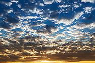 Beautiful cloudy sky at sunrise, Erg Chebbi, Merzouga, Morocco.