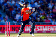 England T20 bowler Liam Plunkett plays the delivery square during the International T20 match between England and India at Old Trafford, Manchester, England on 3 July 2018. Picture by Simon Davies.