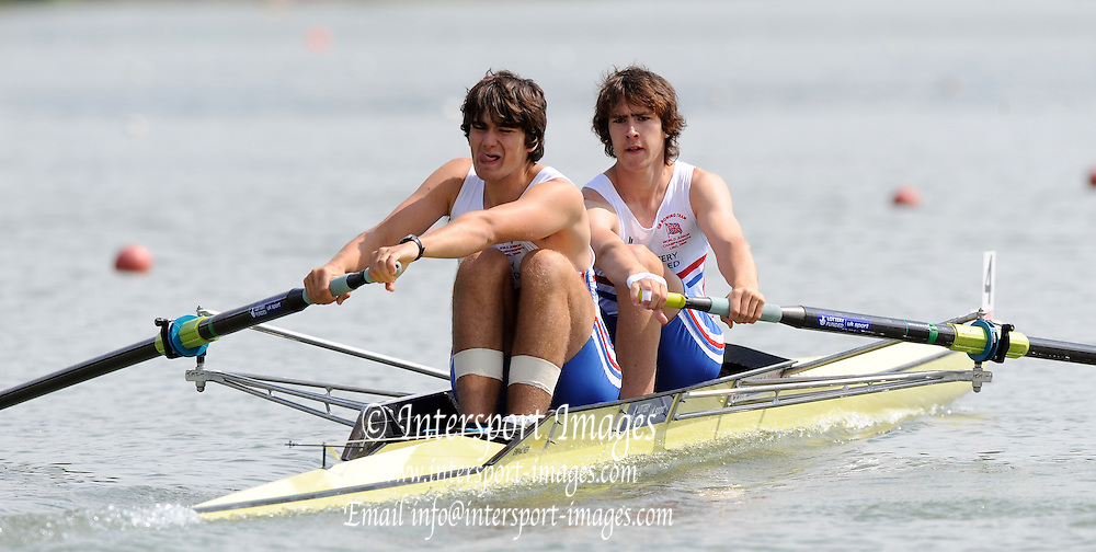 Ottensheim, AUSTRIA. GBR JM2-, Bow, Innes STEWART and Joshua PENDRY, move away from the start pontoon, in their morning heat at the 2008 FISA Senior and Junior Rowing Championships,  Linz/Ottensheim. Wednesday,  23/07/2008.  [Mandatory Credit: Peter SPURRIER, Intersport Images] Rowing Course: Linz/ Ottensheim, Austria