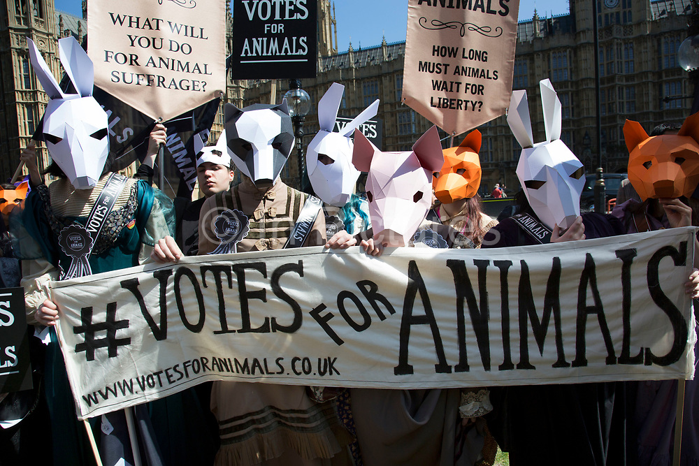 London, UK, 23rd April 2015. Celebrities and campaigners to animal welfare General Election drive. A day of action including a march on Parliament marks the launch of the 'Votes for Animals' campaign to highlight the importance of animal welfare issues in the General Election.  The aim of the campaign is to help inform the public on where their local candidates stand on the issue of animal welfare and to take this into consideration when voting. The initiative is spearheaded by ethical cosmetic company Lush, and backed by animal protection organisations League Against Cruel Sports, Animal Aid and Brian May's Common Decency organization.