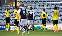 Raith Rovers Mark Stewart scoring their first goal. <br /> Half time : Raith Rovers 2 v 0 Livingston, SPFL Ladbrokes Premiership game played 8/8/2015 at Stark's Park.