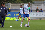 AFC Wimbledon midfielder Scott Wagstaff (7) warming up during the EFL Sky Bet League 1 match between AFC Wimbledon and Doncaster Rovers at the Cherry Red Records Stadium, Kingston, England on 9 March 2019.