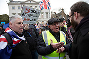 Vote Leave demonstrators argue with Anti Brexit pro Europe demonstrators in Westminster on the day of the 'meaningful vote' when MPs will back or reject the Prime Minister's Brexit Withdrawal Agreement on 15th January 2019 in London, England, United Kingdom.